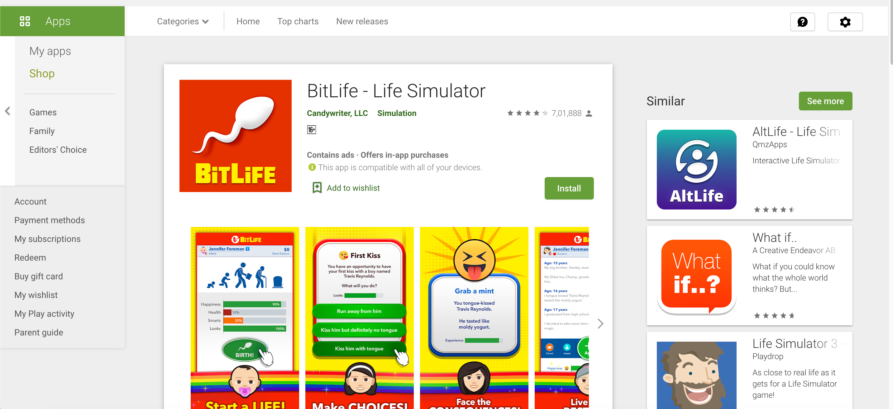 bitlife simulator on PC