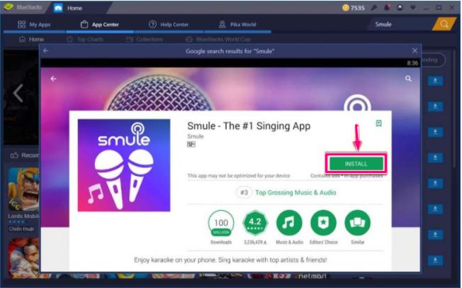 Install 'Smule App' on PC - Bluestacks