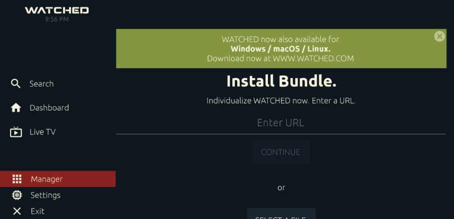 Enter URL - WATCHED APK on PC