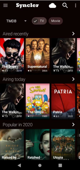 Syncler App UI - Movies & TV Shows