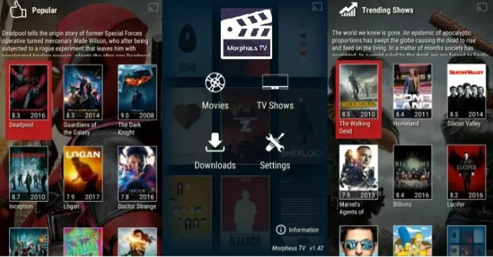 Morpheus TV APK Reborn on PC - UI